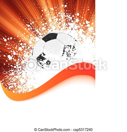 Grunge football poster with soccer ball. EPS 8 - csp5317240