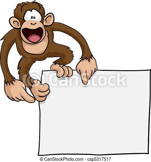 schattig, gek, aap, illustratie, meldingsbord - csp5317517