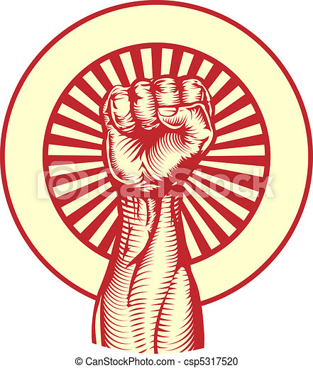Soviet propaganda poster style fist - csp5317520