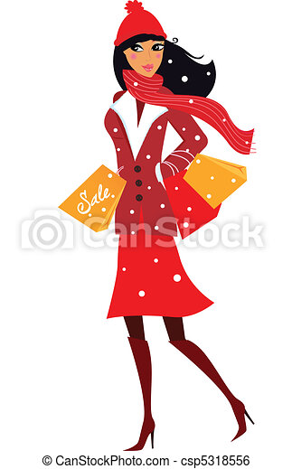 Winter woman on shopping - csp5318556