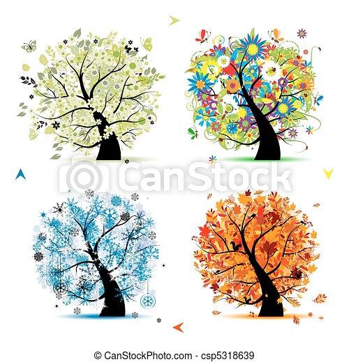 Four seasons - spring, summer, autumn, winter. Art tree beautiful for your design  - csp5318639