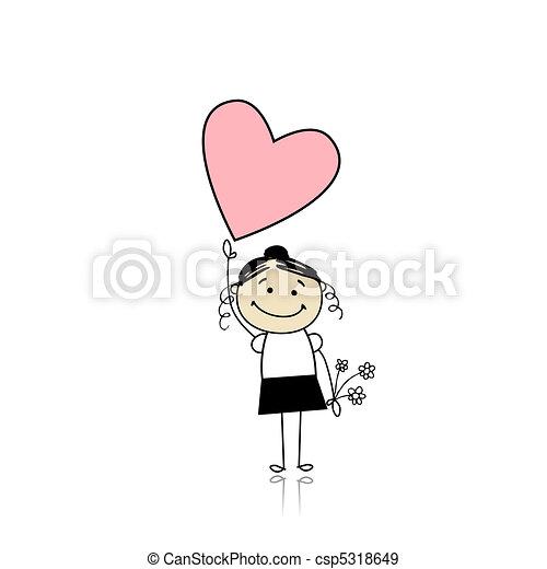 Saint valentine day - cute girl holding heart - csp5318649
