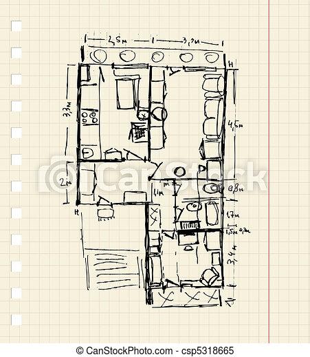 Redevelopment of apartment, sketch  - csp5318665