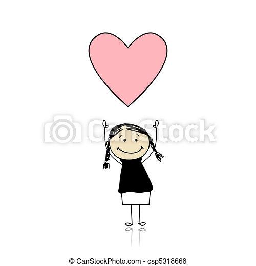 Saint valentine day - cute girl holding heart - csp5318668