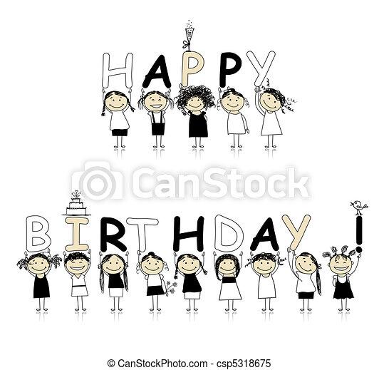 Feliz, aniversário, bonito, sorrindo, meninas - csp5318675