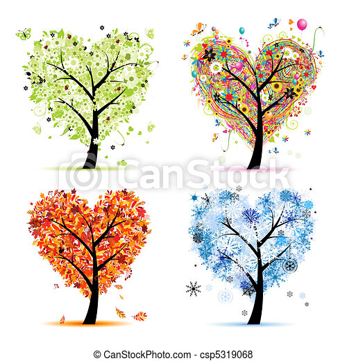 Four seasons - spring, summer, autumn, winter. Art tree heart shape for your design  - csp5319068