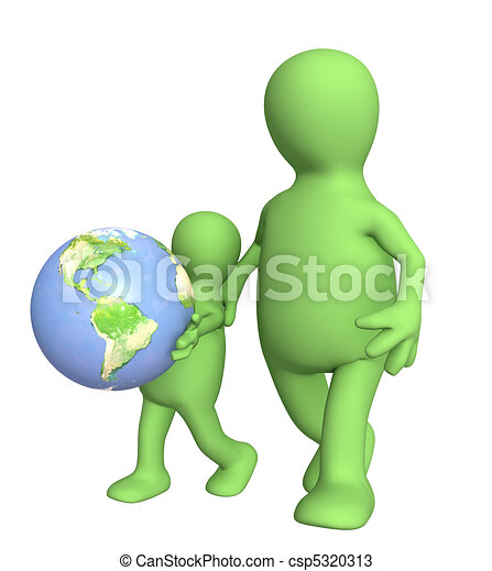 Adult and child with Earth - csp5320313