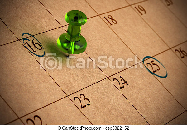 Calendar with numbers, green thumbtack, recycled paper - csp5322152