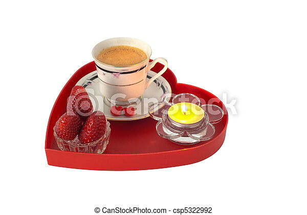 romantique petit djeuner fraises sur rouges coeur form plateau petit bougie - Plateau Romantique