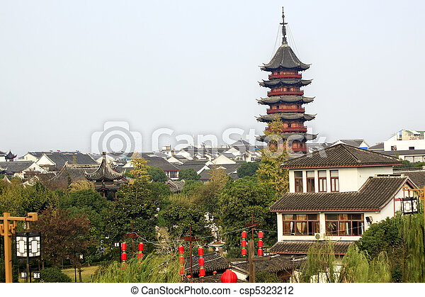 Ancient Chinese Ruigang Pagoda Rooftops Apartments Suzhou China - csp5323212