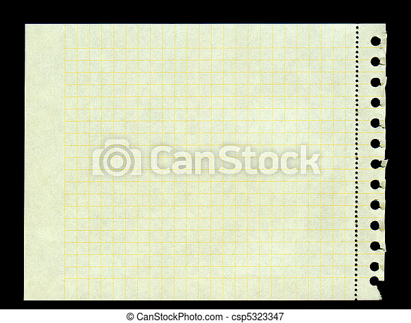 yellow squared paper torn out of a ring binder - csp5323347