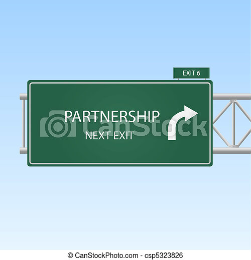"Concept image of a highway sign with an exit to ""Partnership"" with a blue sky background. - csp5323826"