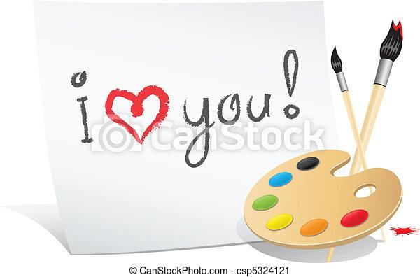 Valentine card of the artist - csp5324121