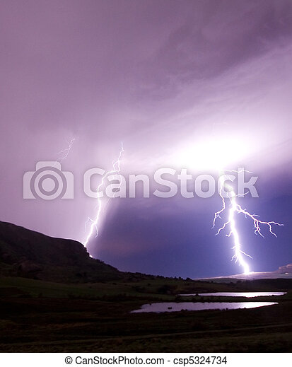two lightning bolts reflecting in water - csp5324734