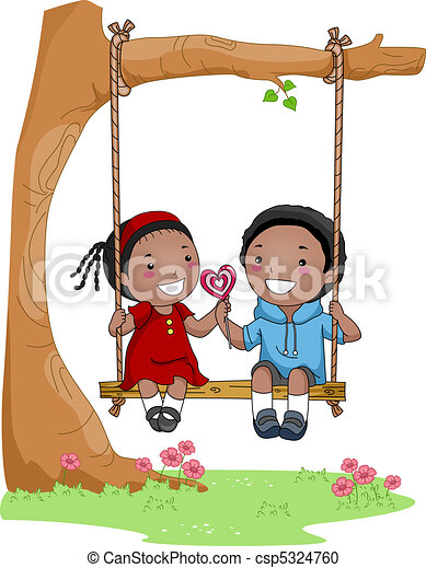 stock illustration of kids on a swing illustration of a Little Girl Clip Art Birthday Boy Clip Art