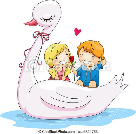 Stock Illustration of Swan Boat - Illustration of Kids ...