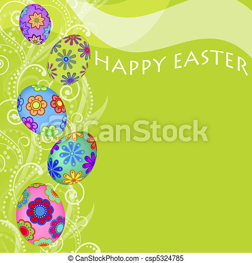 Happy Easter Eggs with Swirls and Flowers Background - csp5324785