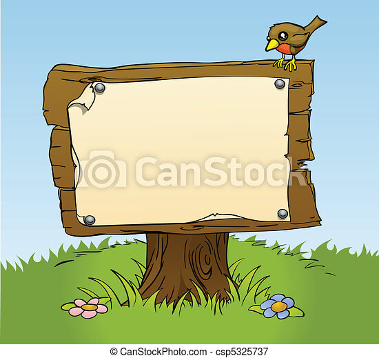 a rustic wooden sign - csp5325737
