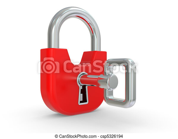 3d red lock with key  - csp5326194