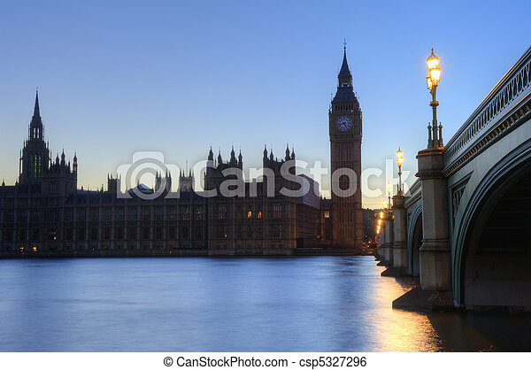 Beautiffully lit night cityscape including London landmarks on long exposure - csp5327296