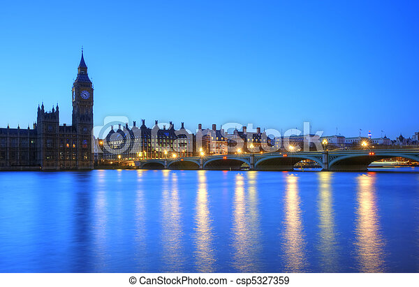 Beautiffully lit night cityscape including London landmarks on long exposure - csp5327359