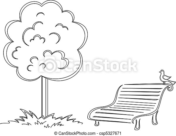 Bird, park bench, tree, contours - csp5327671