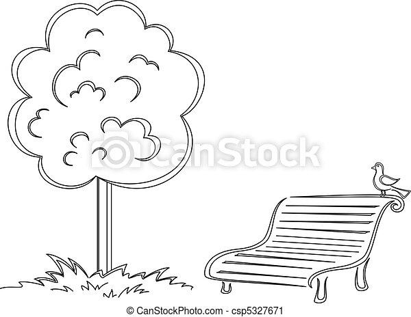 Bird, park bench, tree, contours - csp5327671