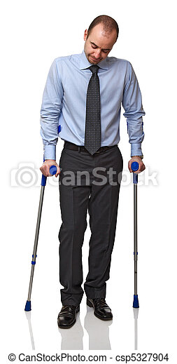 man with crutch - csp5327904