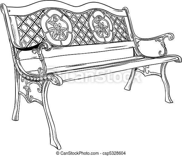 Vecteur eps de parc banc isol sur les blanc - Imagenes de bancos para sentarse ...