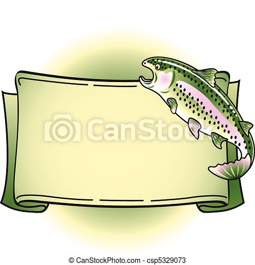 Rainbow Trout Tattoo Banner Clipart - csp5329073