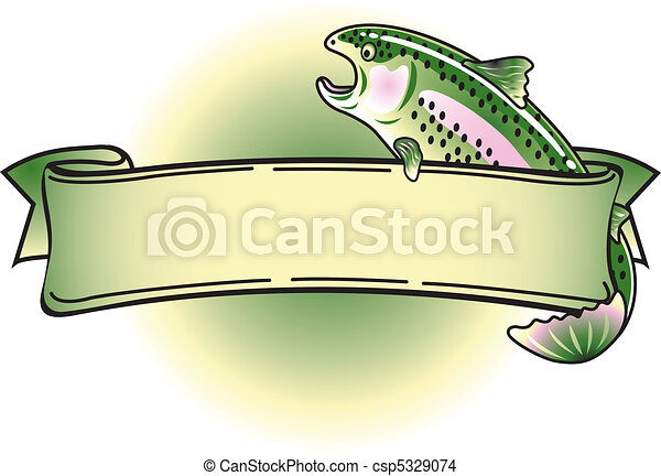 Rainbow Trout Tattoo Banner Clipart - csp5329074