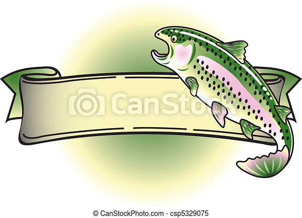 Rainbow Trout Tattoo Banner Clipart - csp5329075