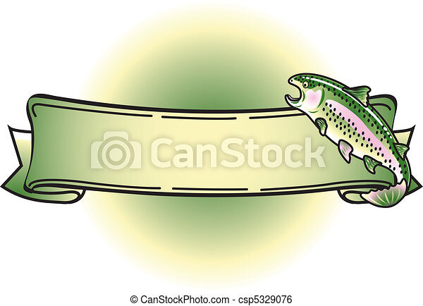 Rainbow Trout Tattoo Banner Clipart - csp5329076