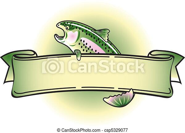 Rainbow Trout Tattoo Banner Clipart - csp5329077