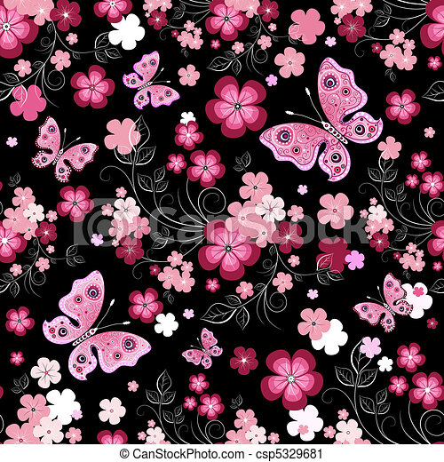 Dark seamless floral pattern - csp5329681
