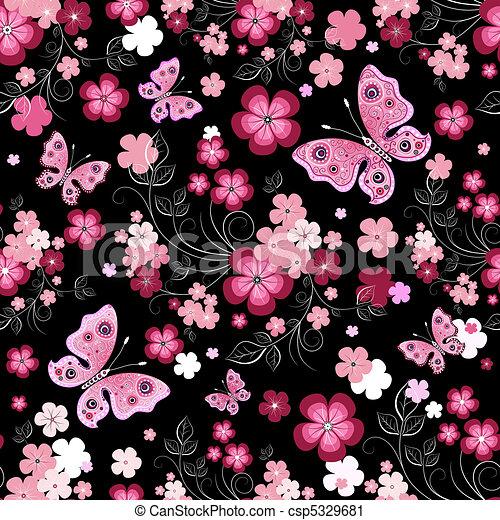 Dark seamless floral pattern - csp5329681