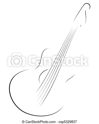 Guitar sketch  - csp5329837