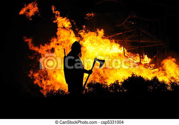 Viking and burning building - csp5331004