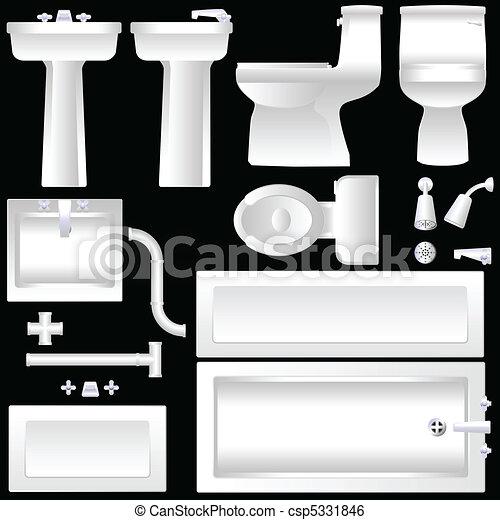 Clip art vektor von badezimmer einrichtung a einfache for Badezimmer clipart