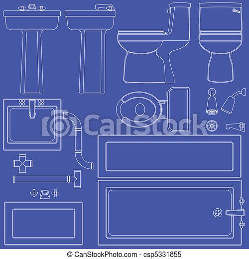 Blueprint bathroom fixtures - csp5331855