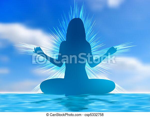 Human silhouette meditating. EPS 8 - csp5332758