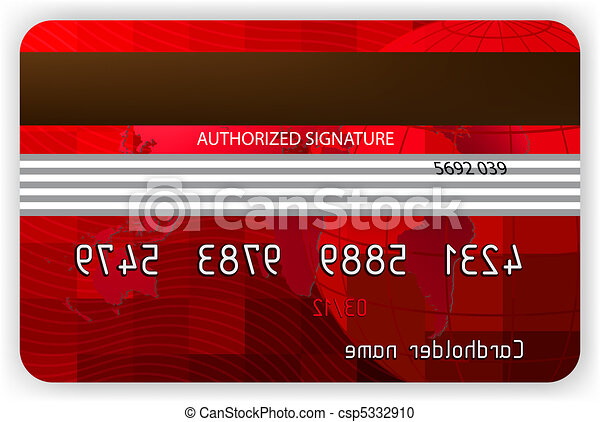 Vector red credit cards, back view. EPS 8 - csp5332910