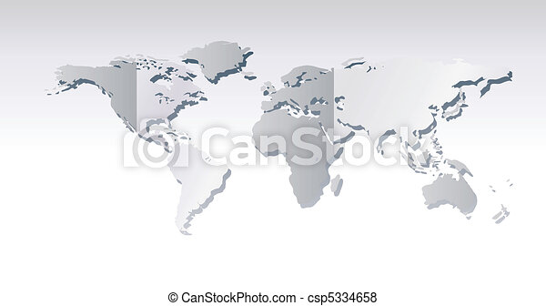 Light grey world map illustration - csp5334658