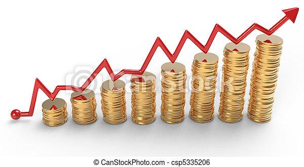 progress:, 黃金, 圖表, 在上方, 硬幣, 堆, 紅色 - csp5335206