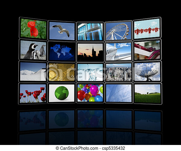 Video wall made of flat tv screens - csp5335432