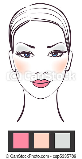 Beauty women face with makeup vector illustration - csp5335789