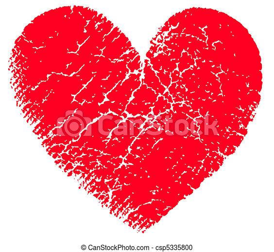Red vector grunge heart - csp5335800