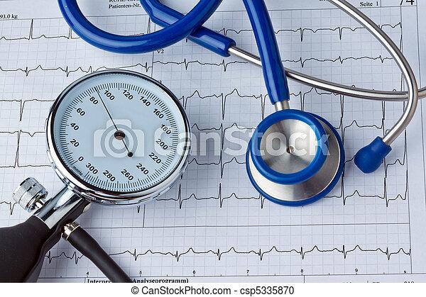 Blood pressure measurement and ECG curve - csp5335870