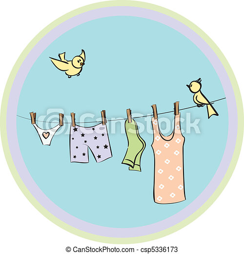 clothes dry on a cord  - csp5336173