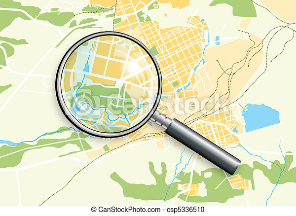 City Geo Map and Zoom Lens - csp5336510